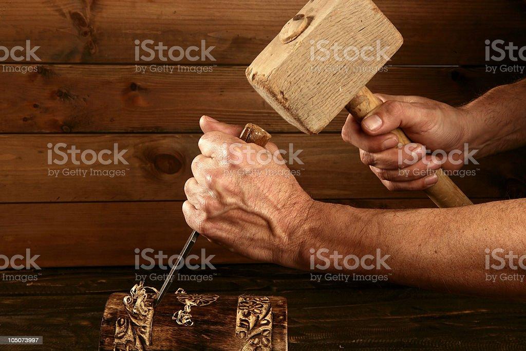 gouge wood chisel carpenter tool hand hammer royalty-free stock photo