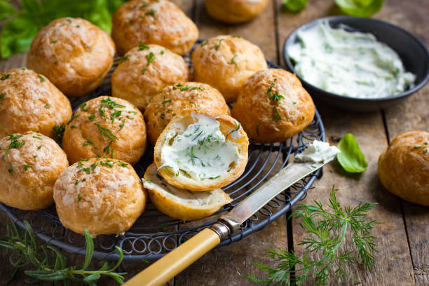 Gougeres. Traditional french cheese choux bun stock photo