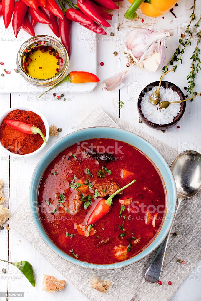 Goulash, beef, tomato, pepper, chili, smoked paprika soup. stock photo