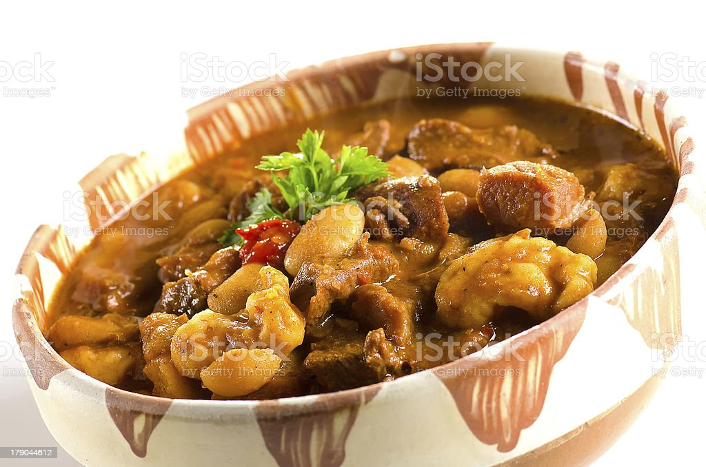 Goulash in clay pot royalty-free stock photo