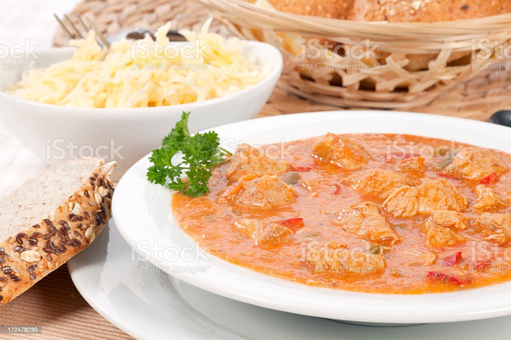 Goulash with bread royalty-free stock photo