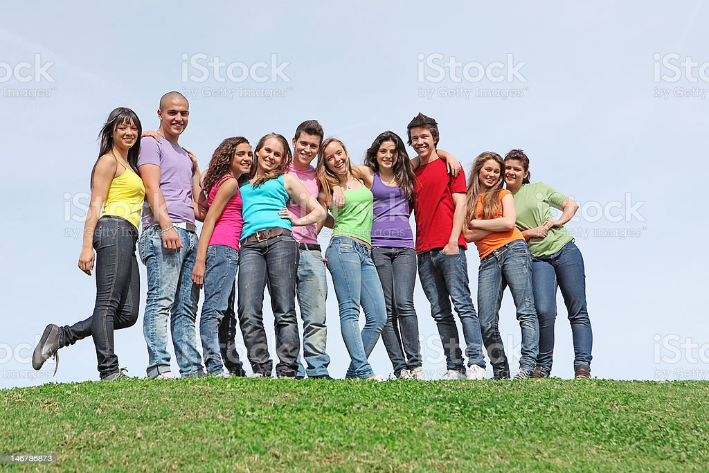 goup of 10 kids stock photo