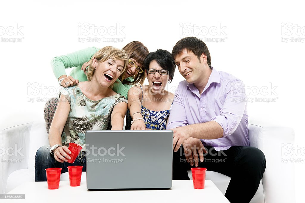 Goup of friends surfing the net royalty-free stock photo