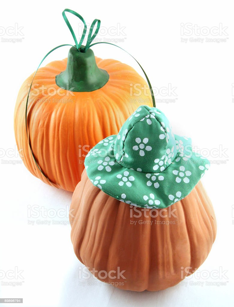 gourds with hats royalty-free stock photo