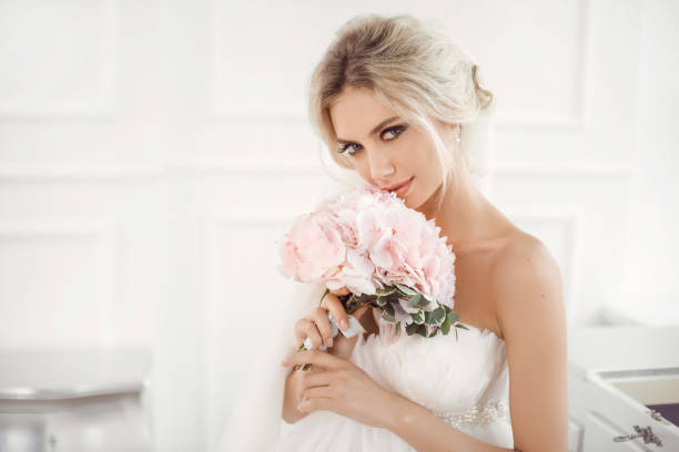 Gourgeous bride studio interior photo stock photo