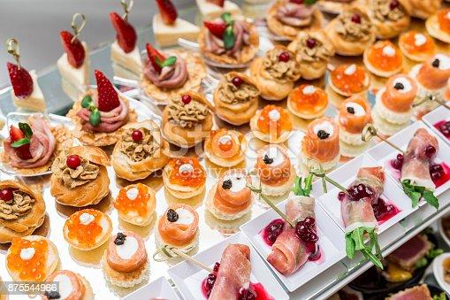 istock Gourmet appetizers: caviar, venison, tuna and salmon. 875544966