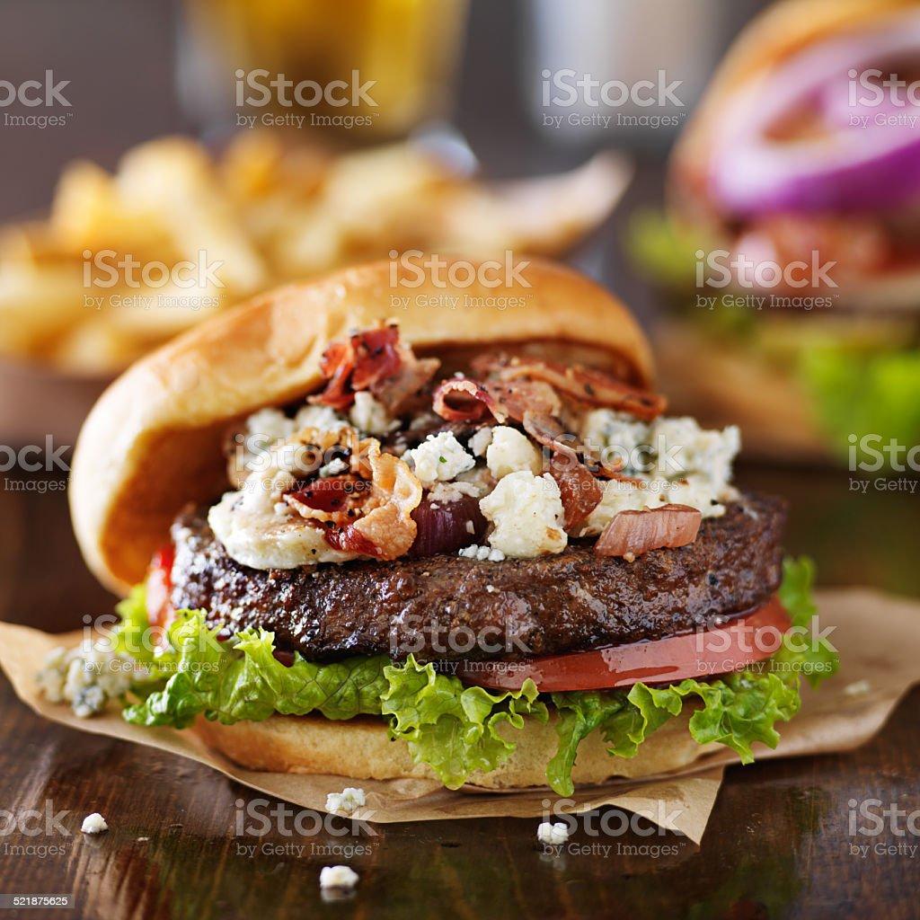 gourmet bacon and bleu cheese burgers stock photo