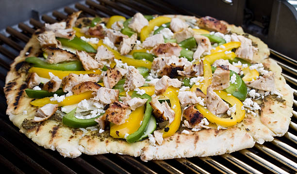 Gourmet Barbecued Pizza - Mediterranean Style stock photo