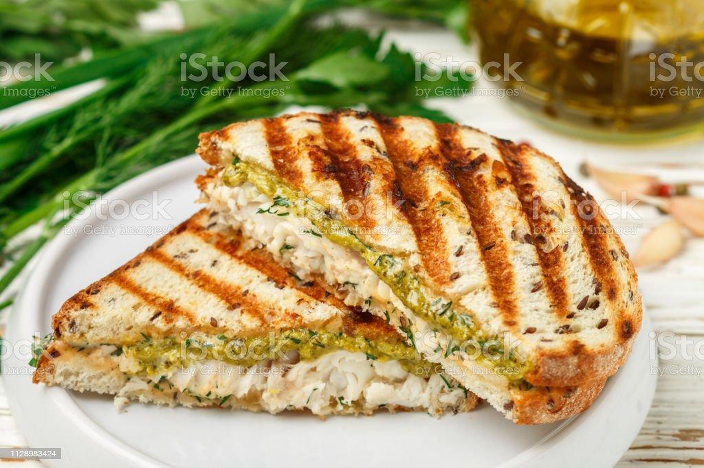 Gourmet Breakfast Sandwich With White Fish Healthy Bread