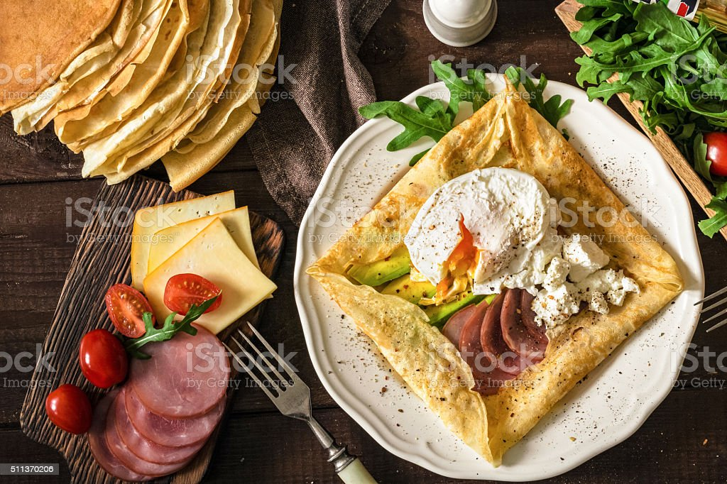 Gourmet breakfast, table top view food. stock photo