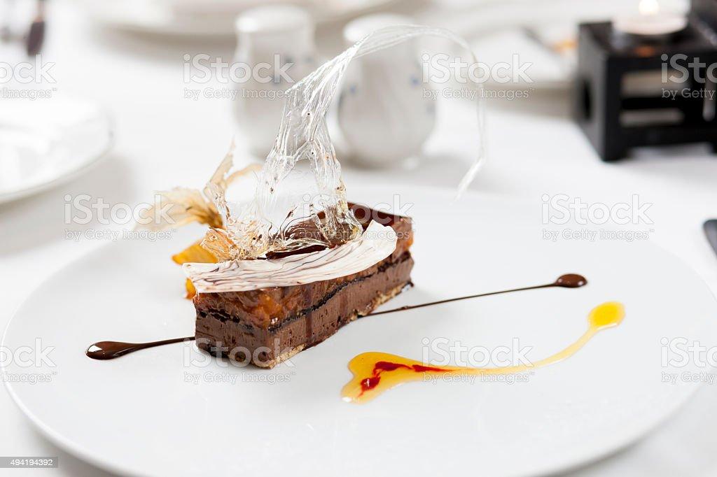 gourmet brownie dessert stock photo