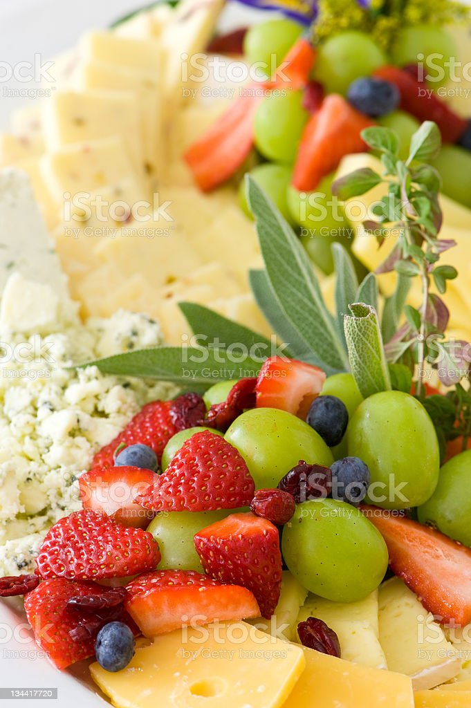Gourmet Cheese and Fruit Tray royalty-free stock photo