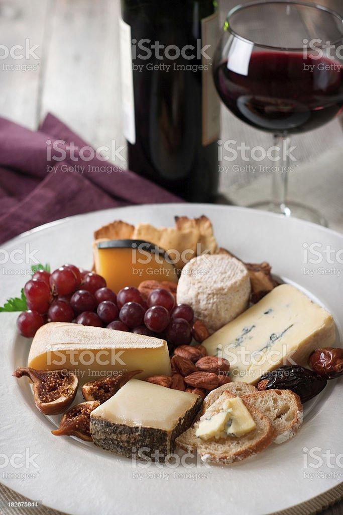 Gourmet Cheese & Wine royalty-free stock photo