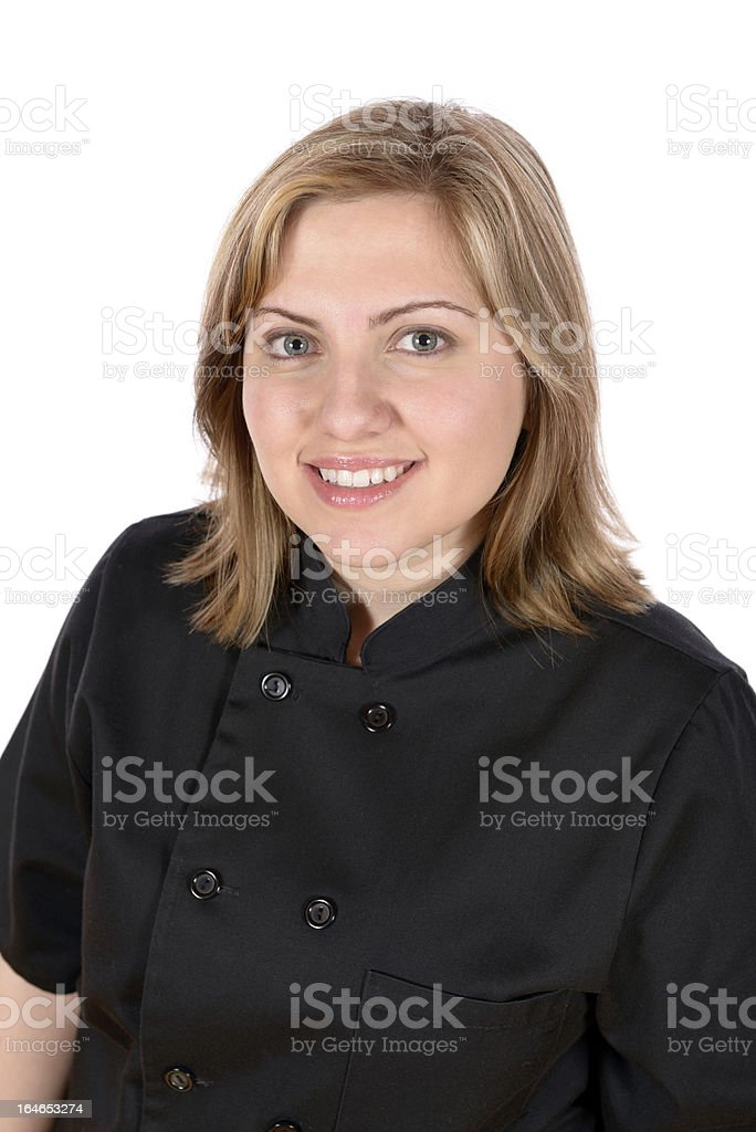 Gourmet Chef blond model in jacket. stock photo