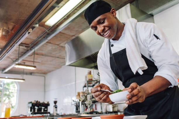Gourmet chef cooking in a commercial kitchen stock photo