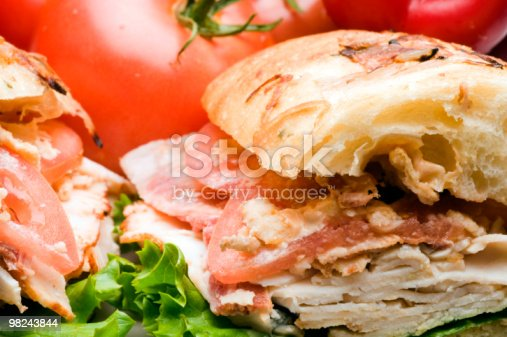 Gourmet Chicken Sandwich On Focaccia Panini Bread Stock Photo & More Pictures of Bacon