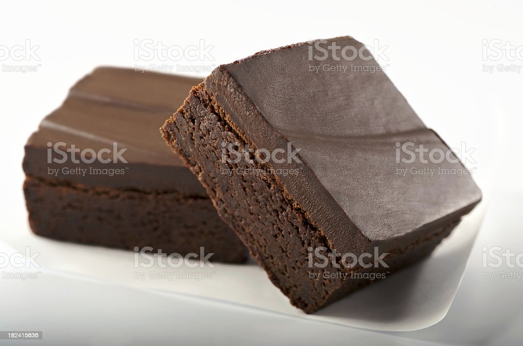 Gourmet Chocolate Brownies on White royalty-free stock photo