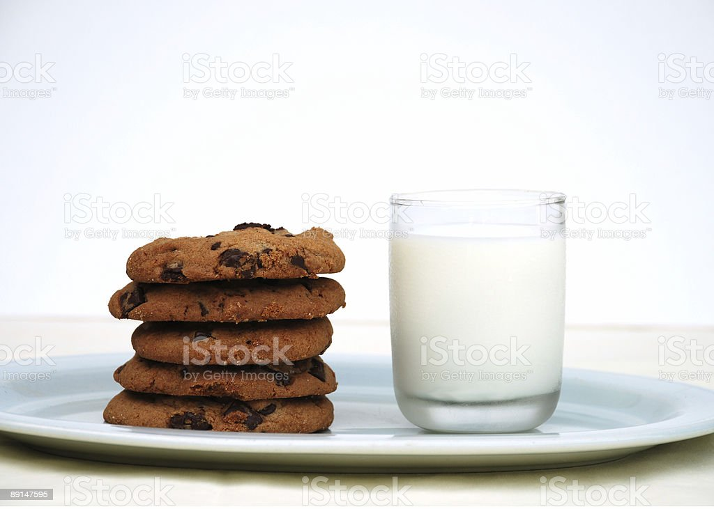 Gourmet chocolate chip cookies and glass of milk royalty-free stock photo