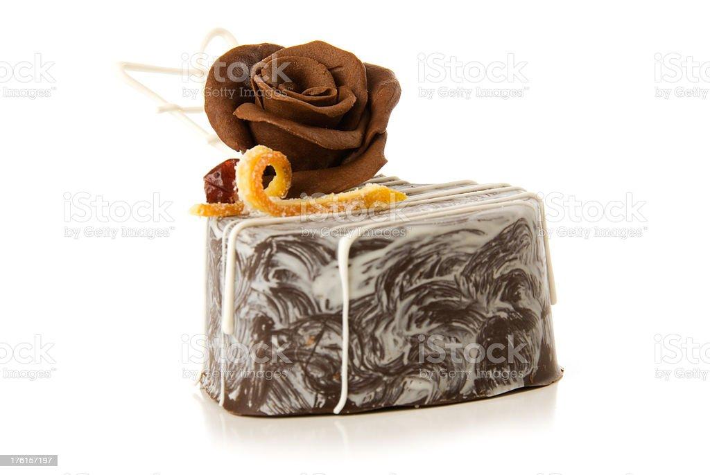 Gourmet chocolate dessert on white royalty-free stock photo