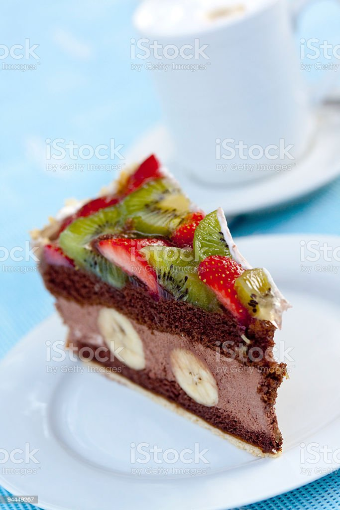 Gourmet- Chocolate Mousse-Cream Pie with Fruits royalty-free stock photo