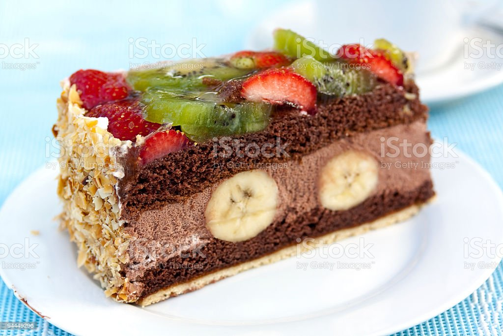 Gourmet- Chocolate Mousse-Cream Pie with Fruits stock photo