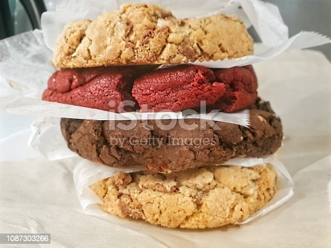 Gourmet cookies on top of each other