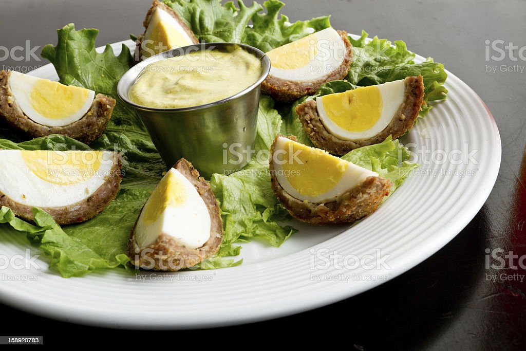 Gourmet Deviled Scotch Eggs stock photo