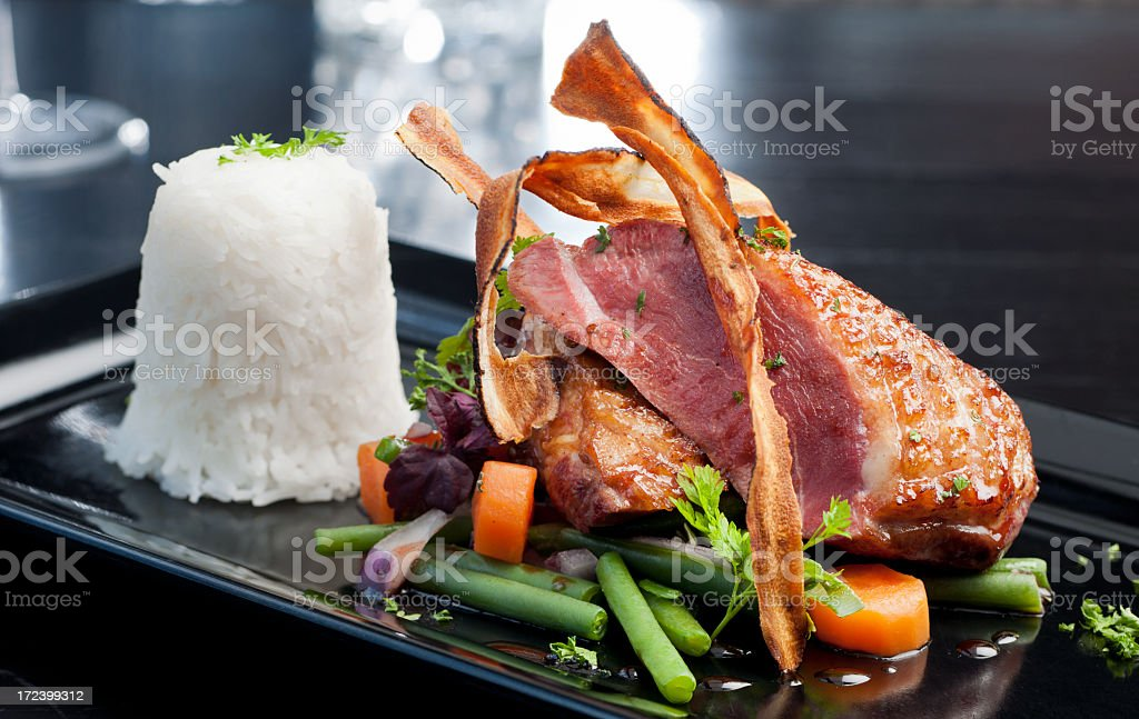 gourmet dish of roasted duck and white rice royalty-free stock photo