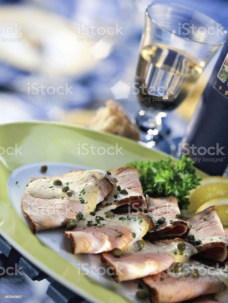 gourmet dish with Vitello Tonnato stock photo