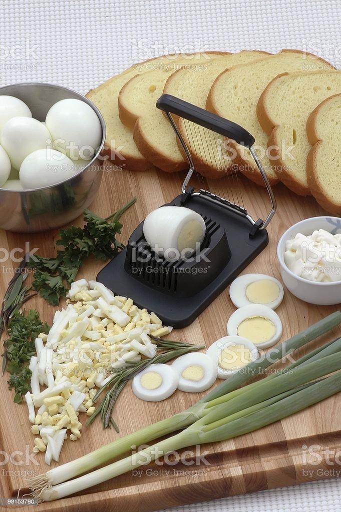 Ricetta di cucina Insalata di uova foto stock royalty-free