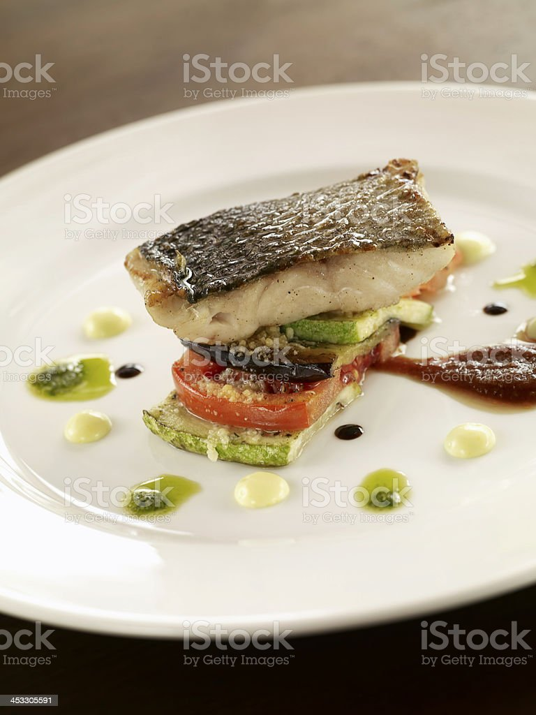 gourmet fish dish stock photo