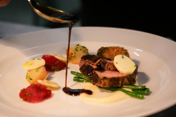 Gourmet Food on dish stock photo
