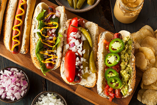 gourmet grilled all beef hots dogs - hot dog stock pictures, royalty-free photos & images