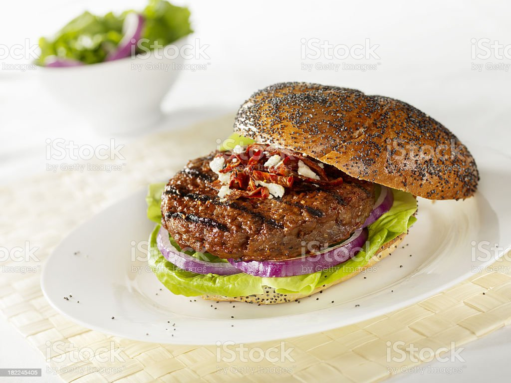 Gourmet Hamburger with Roasted Peppers royalty-free stock photo