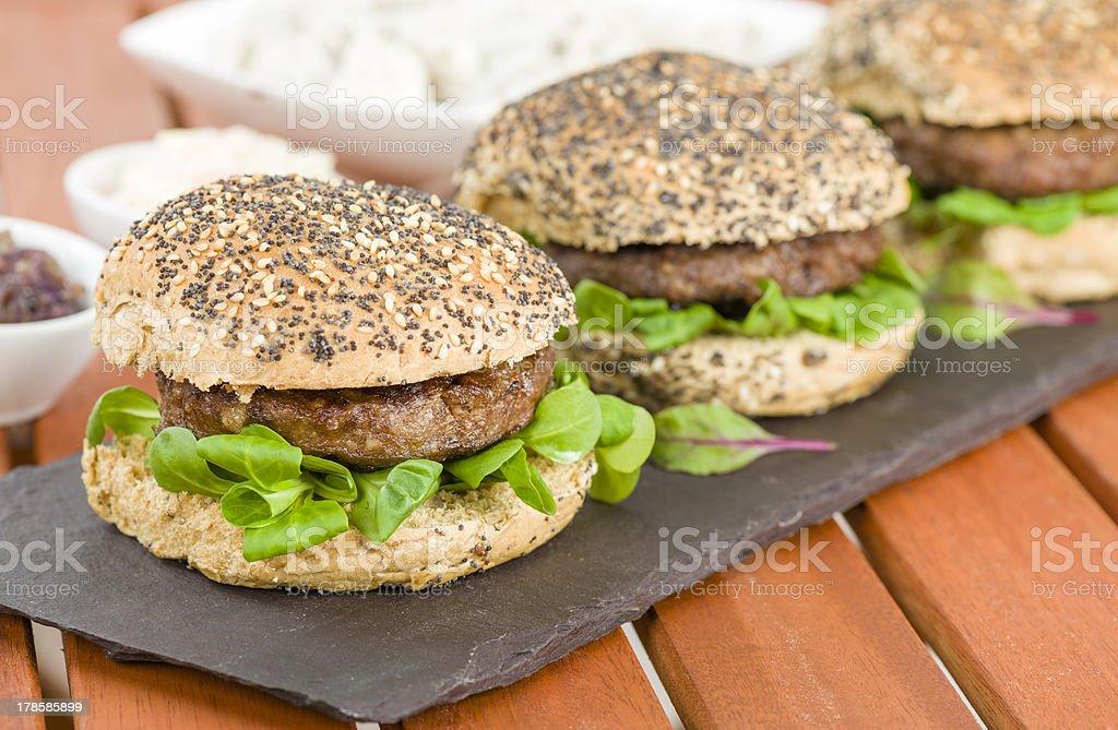 Gourmet Hamburgers stock photo