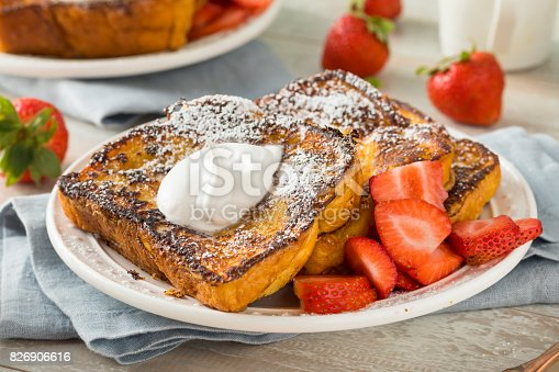 Gourmet Homemade Brioche French Toast with Strawberries