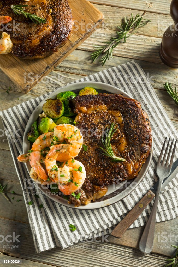 Gourmet Homemade Steak and Shrimp stock photo