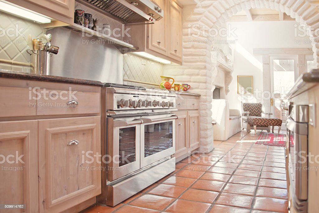 Gourmet Kitchen in a Luxury Estate Home Santa Fe Style stock photo