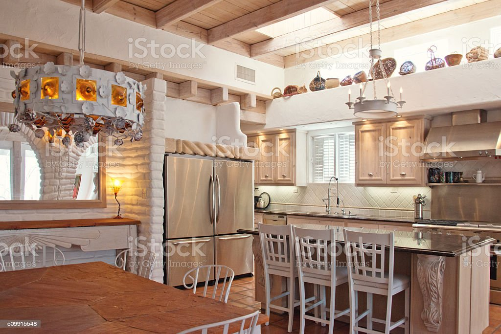 Gourmet Kitchen with Kitchen Island stock photo