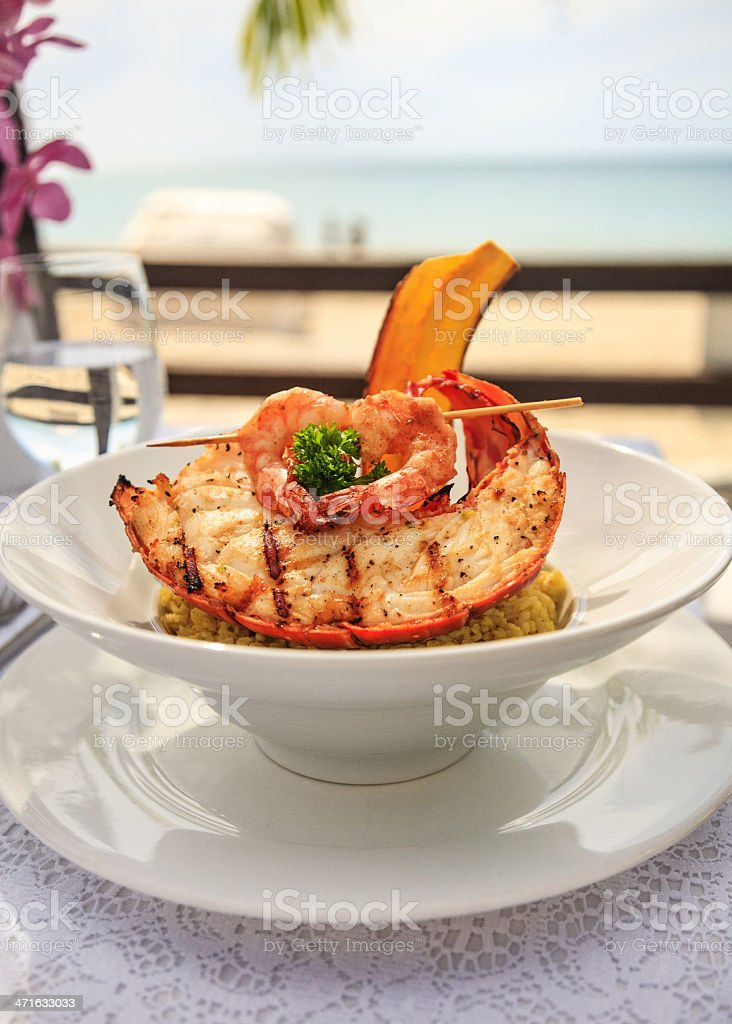 Gourmet Lobster and shrimp seafood by the sea stock photo