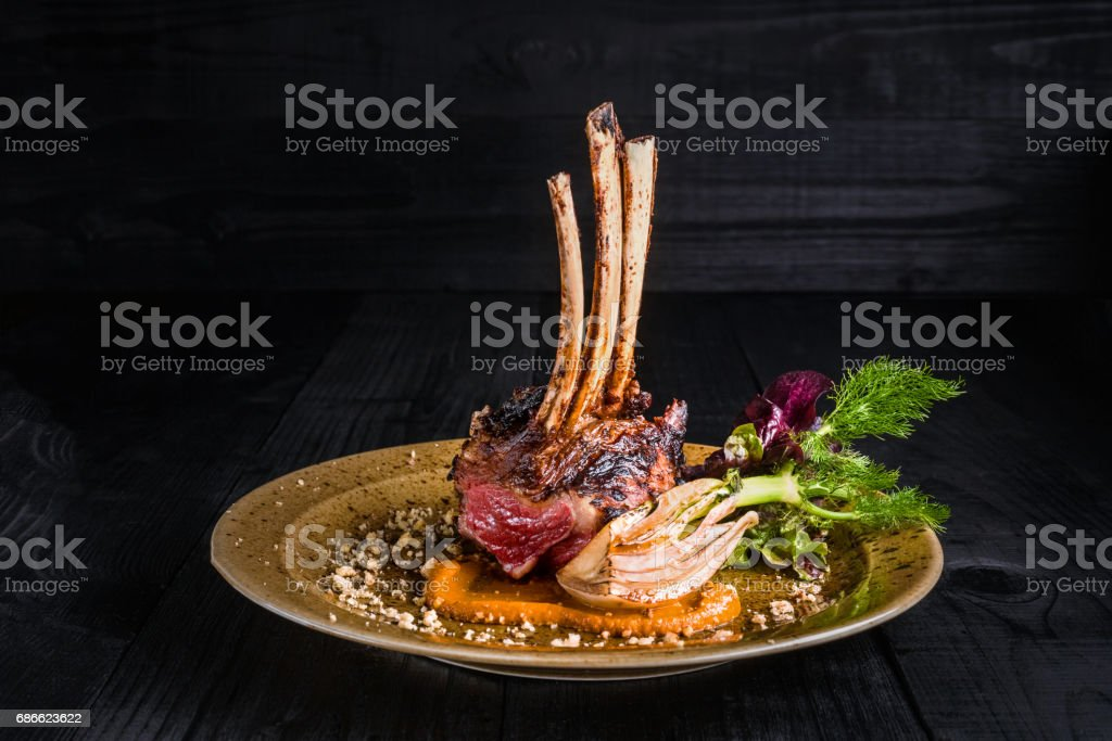 Gourmet Main Entree Course Grilled rack of lamb stock photo