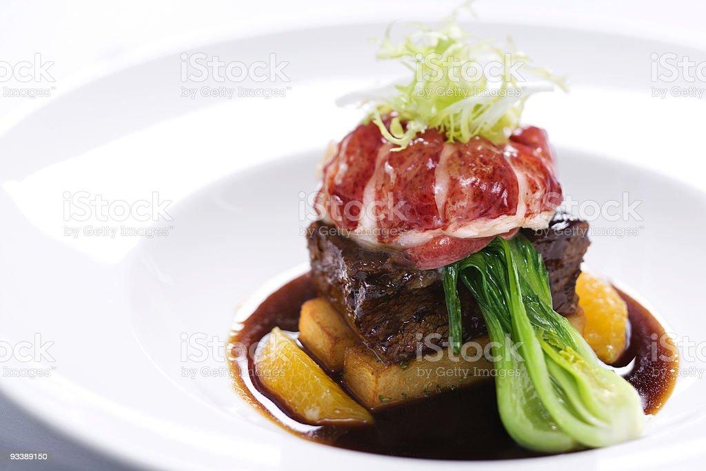 Gourmet meal still life. stock photo