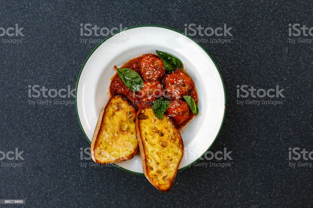 Gourmet Meatballs And Garlic Bread Comfort Food royalty-free stock photo