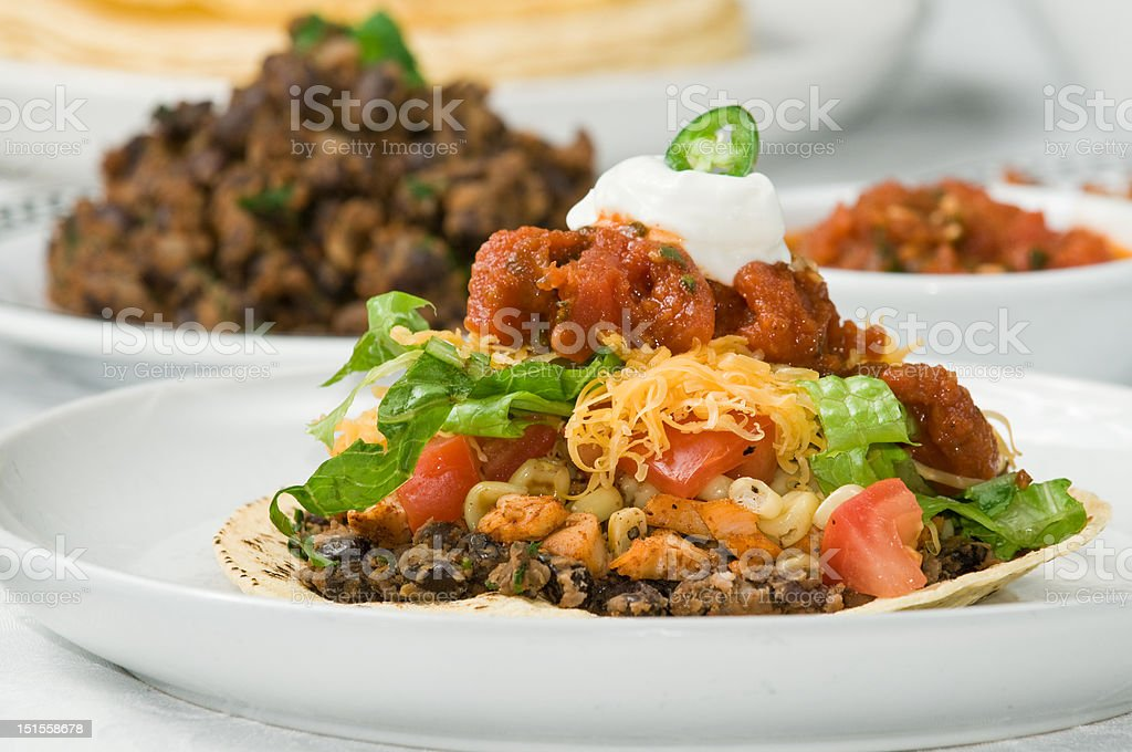 Gourmet mexican tostada or taco dinner royalty-free stock photo