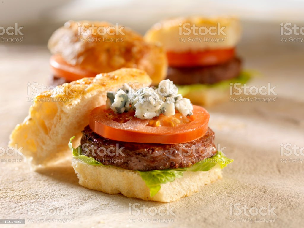 Gourmet Mini Burgers with Blue Cheese royalty-free stock photo
