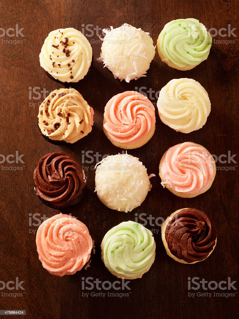 Gourmet Mini Buttercream Cupcakes stock photo