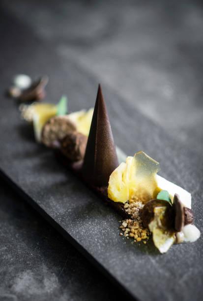 gourmet-moderne kreative schokolade kuchen und getrockneten früchten dessert teller auf schiefer - kochkunst stock-fotos und bilder