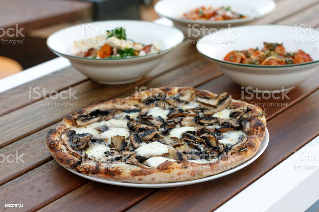 Gourmet Mushroom Pizza Comfort Food royalty-free stock photo