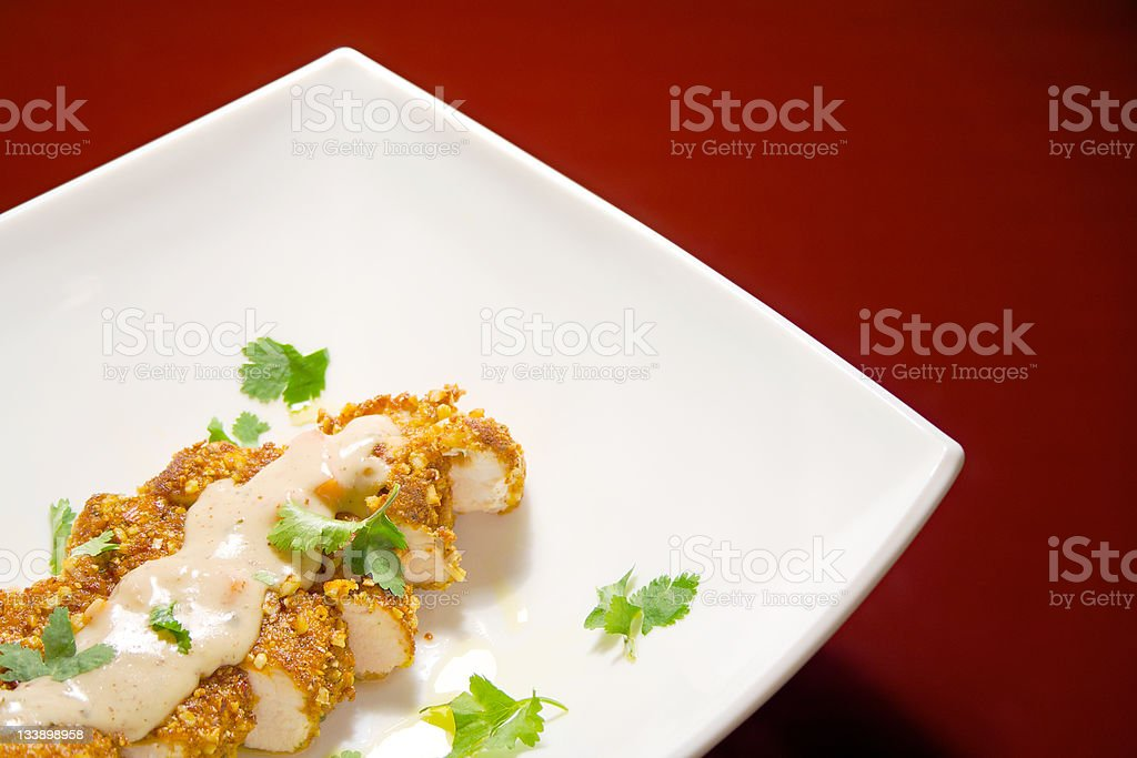 Gourmet pan fried chicken breast slices royalty-free stock photo