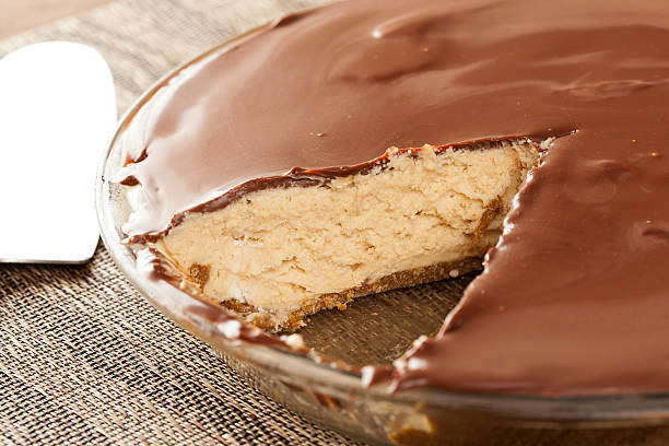 gourmet peanut butter pie - peanutbutter bildbanksfoton och bilder
